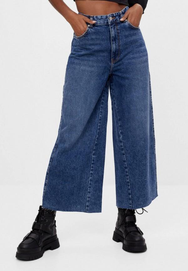 женские джинсы клеш bershka, синие