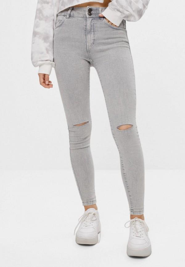женские джинсы скинни bershka, серые