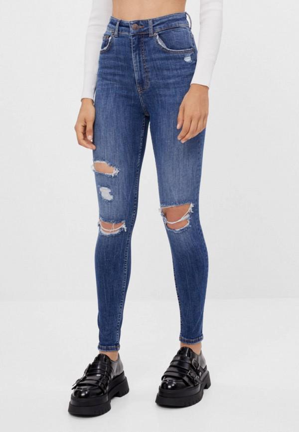 женские джинсы скинни bershka, синие