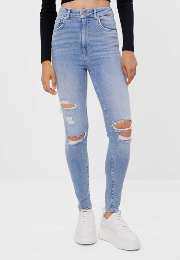 женские джинсы скинни bershka, голубые