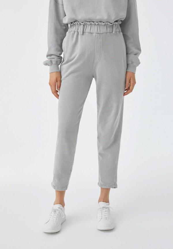 женские брюки джоггеры pull & bear, серые