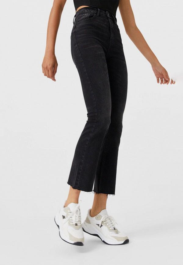 женские джинсы клеш stradivarius, черные