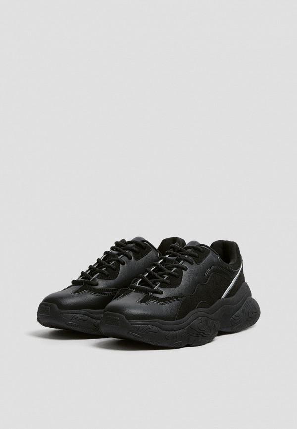 женские низкие кроссовки pull & bear, черные