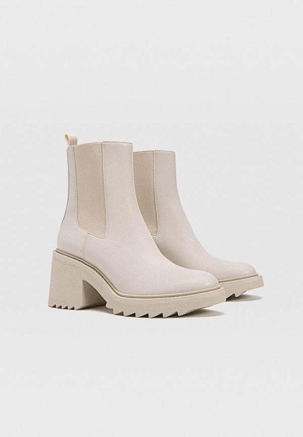 женские ботинки-челси stradivarius, бежевые