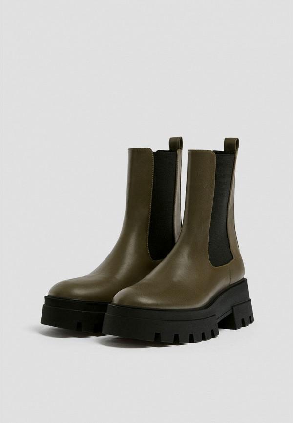 женские ботинки-челси pull & bear, хаки