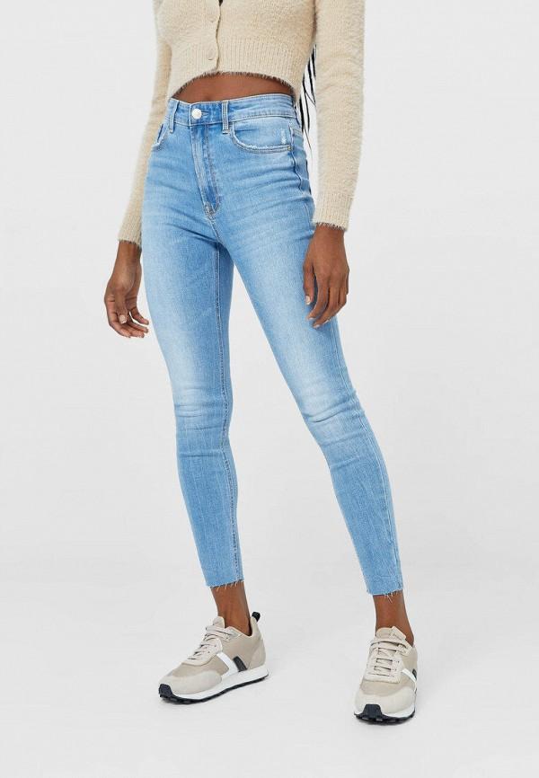 женские джинсы скинни stradivarius, голубые