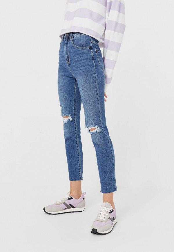 женские прямые джинсы stradivarius, синие
