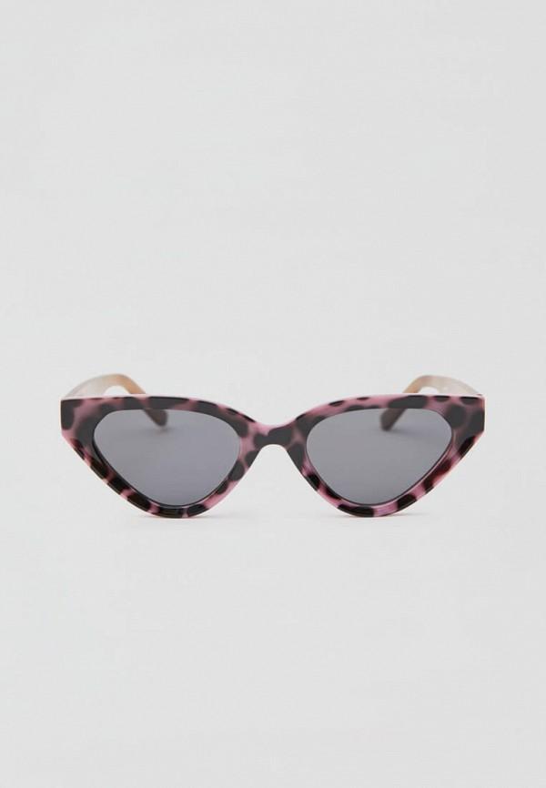 женские солнцезащитные очки кошачьи глаза pull & bear, розовые