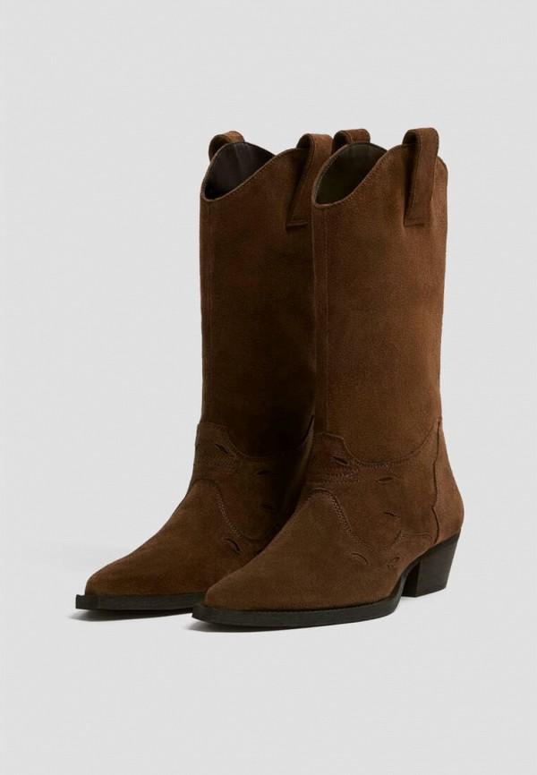 женские полусапожки pull & bear, коричневые