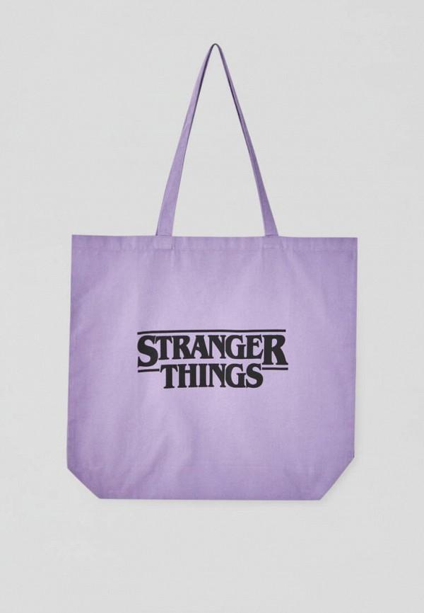 женская сумка-шоперы pull & bear, фиолетовая
