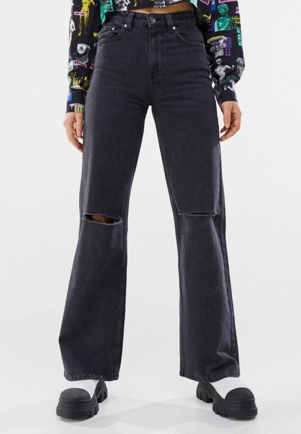 женские джинсы клеш bershka, черные