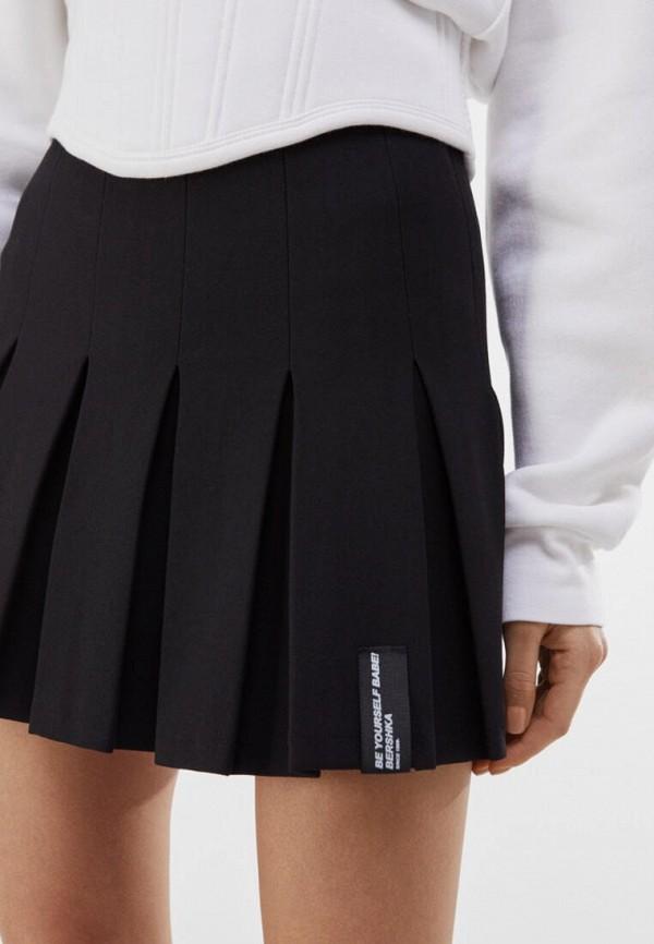 женская юбка-трапеции bershka, черная