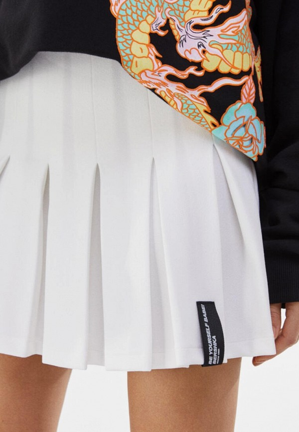 женская юбка-трапеции bershka, белая