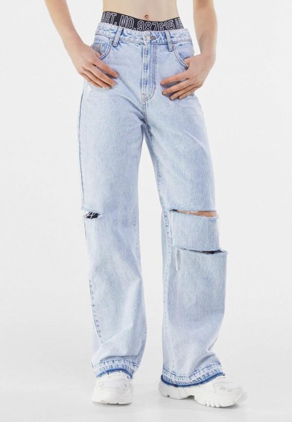 женские джинсы клеш bershka, голубые