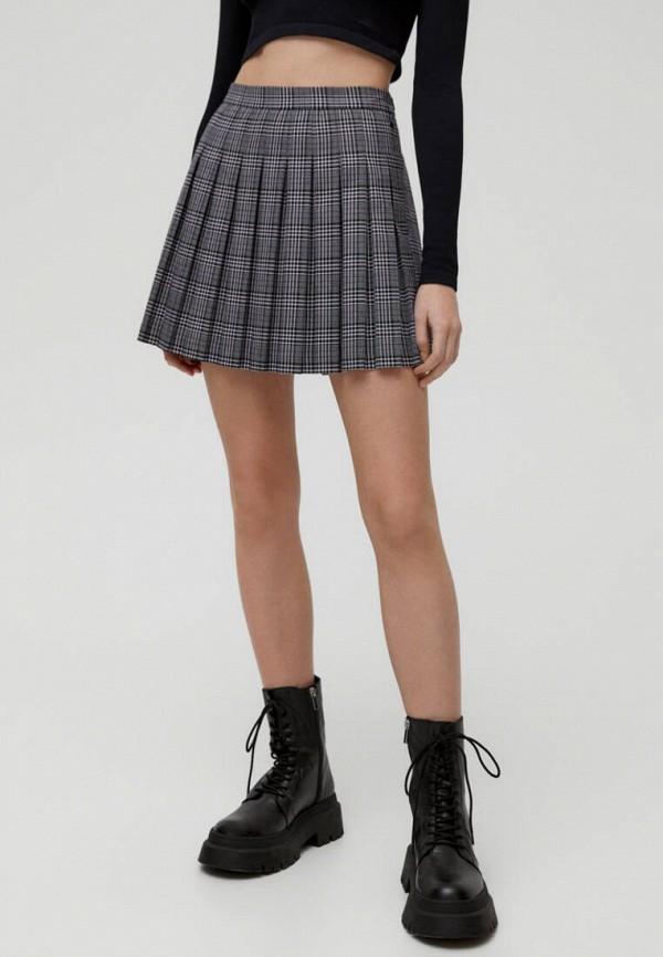женская юбка-трапеции pull & bear, серая
