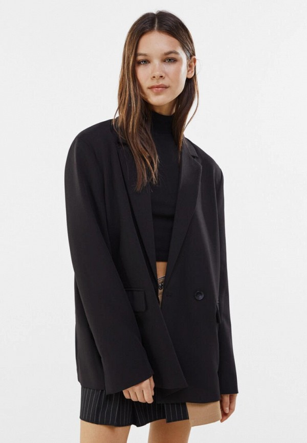 женский пиджак bershka, черный