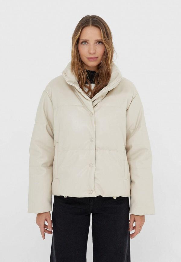женская утепленные куртка stradivarius, белая