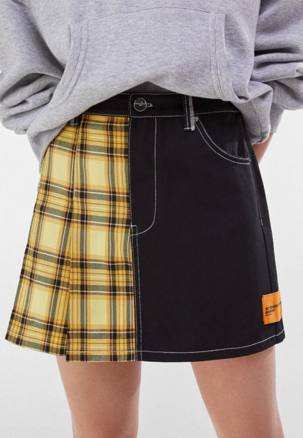 женская юбка-трапеции bershka, желтая