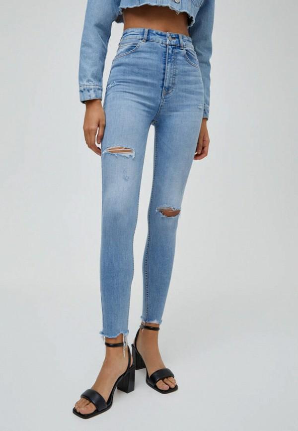 женские джинсы скинни pull & bear, голубые