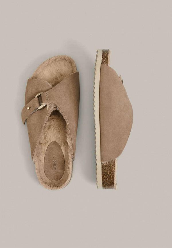 женские тапочки oysho, коричневые