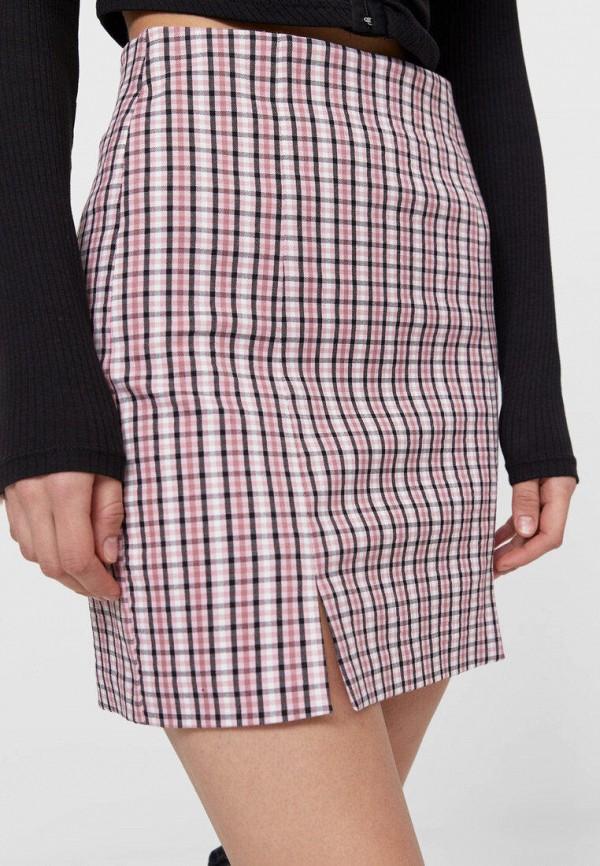 женская прямые юбка stradivarius, розовая