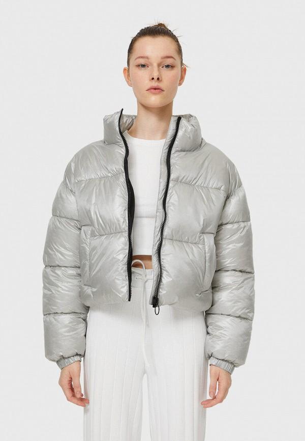 женская утепленные куртка stradivarius, серебряная