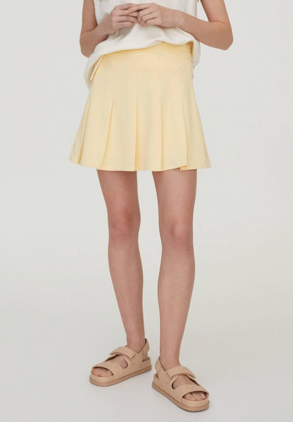 женская юбка-трапеции pull & bear, желтая