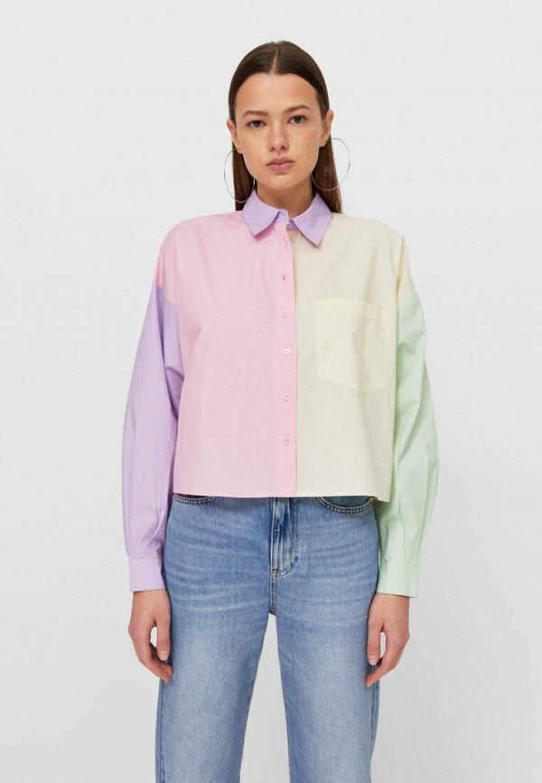 женская рубашка с длинным рукавом stradivarius, разноцветная