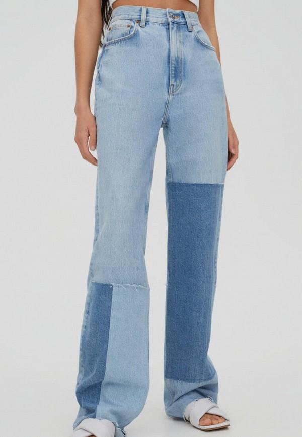 женские прямые джинсы pull & bear, голубые