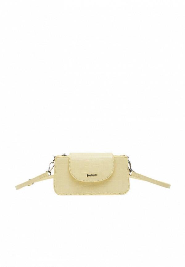 женская сумка через плечо stradivarius, желтая