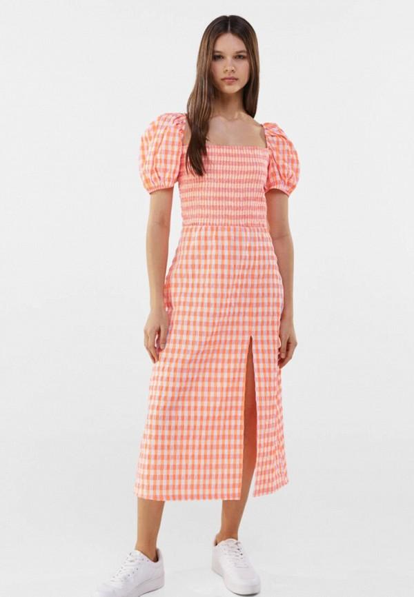 женское повседневные платье bershka, оранжевое