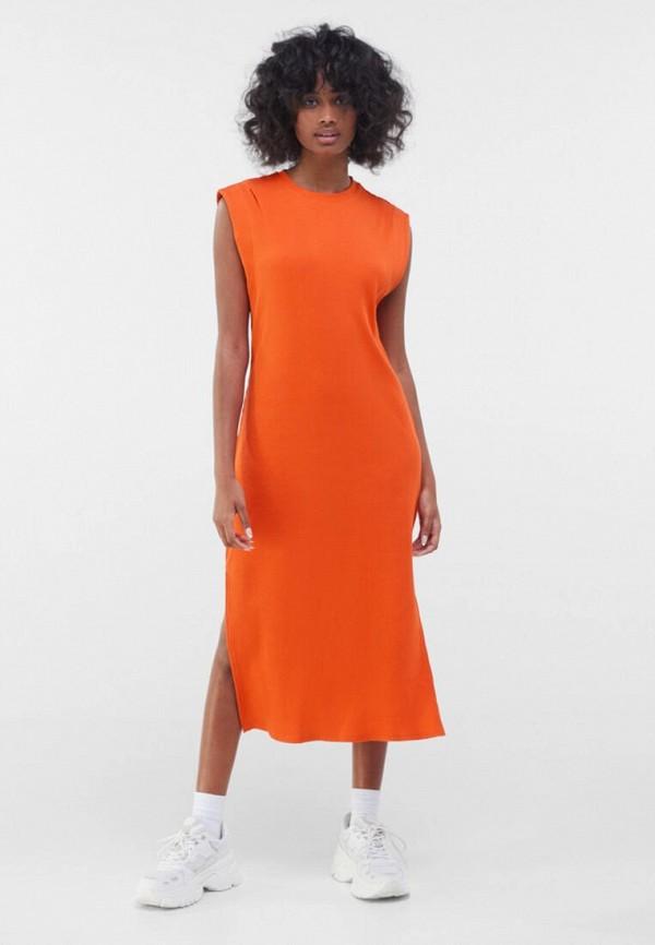 женское платье bershka, оранжевое