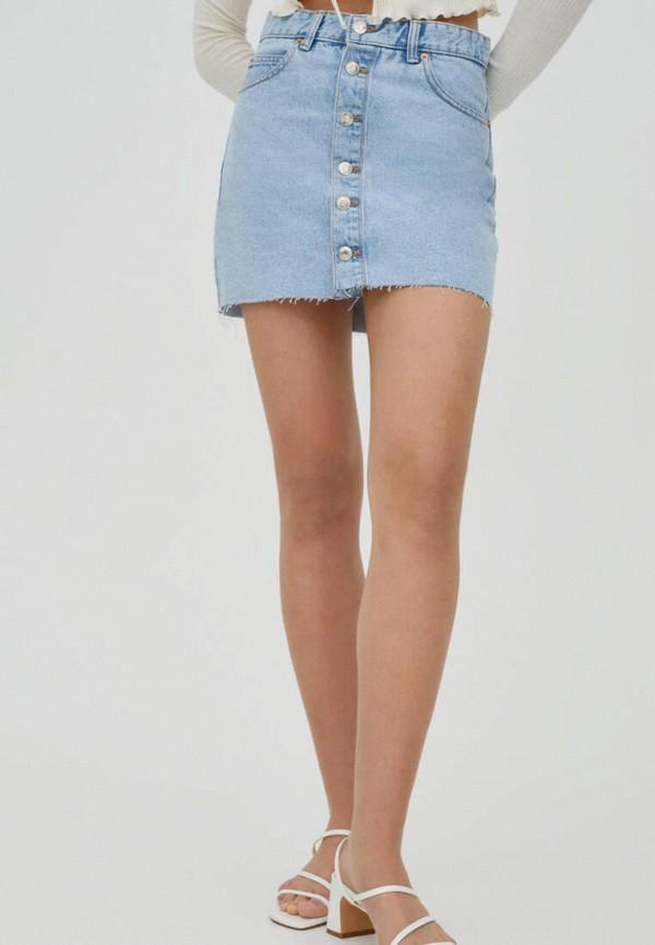 женская джинсовые юбка pull & bear, голубая