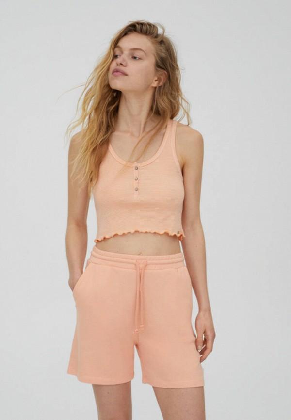 женский топ pull & bear, оранжевый