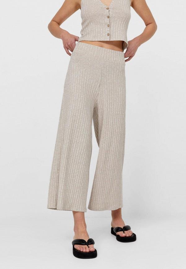 женские повседневные брюки stradivarius, бежевые