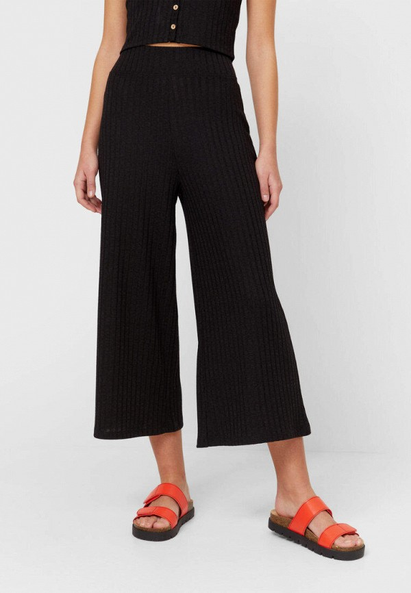 женские брюки кюлоты stradivarius, черные