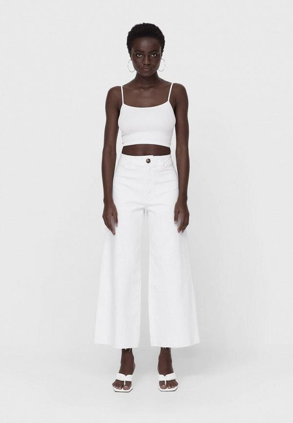 женские брюки кюлоты stradivarius, белые