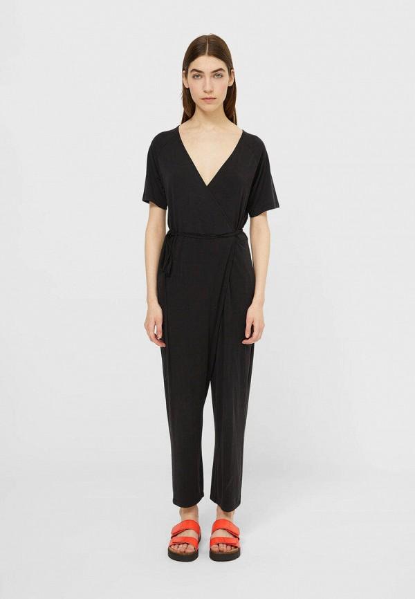 женский комбинезон с брюками stradivarius, черный