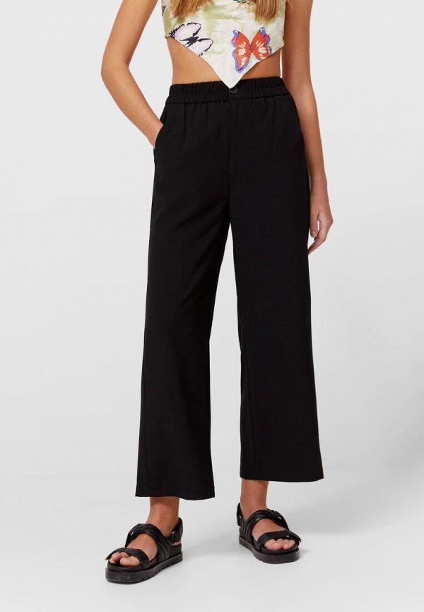 женские повседневные брюки stradivarius, черные