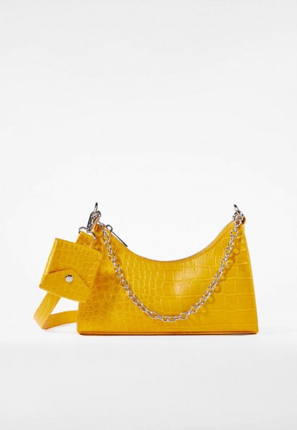 женская сумка через плечо bershka, желтая