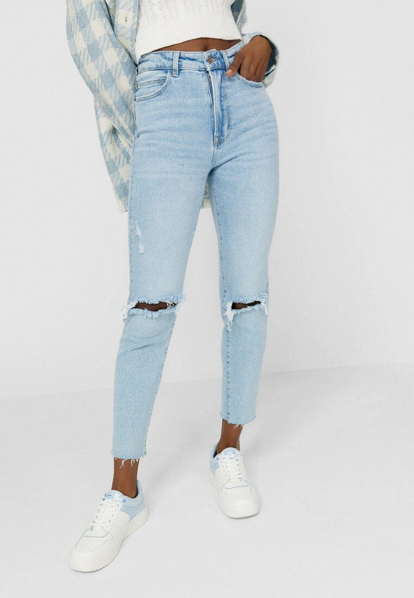женские джинсы-мом stradivarius, голубые