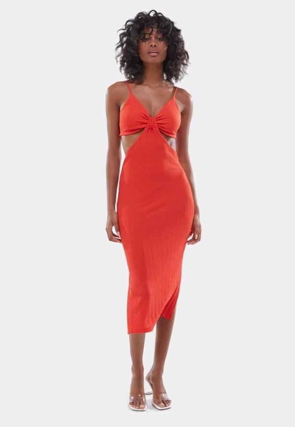 женское повседневные платье bershka, красное