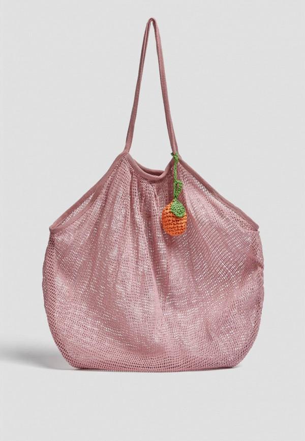 женская сумка-шоперы pull & bear, розовая