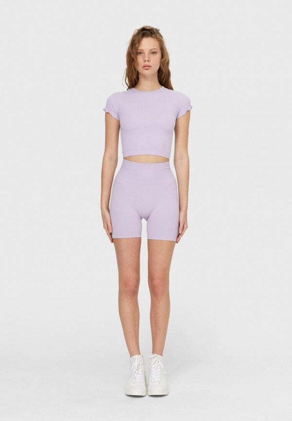женские повседневные шорты stradivarius, фиолетовые