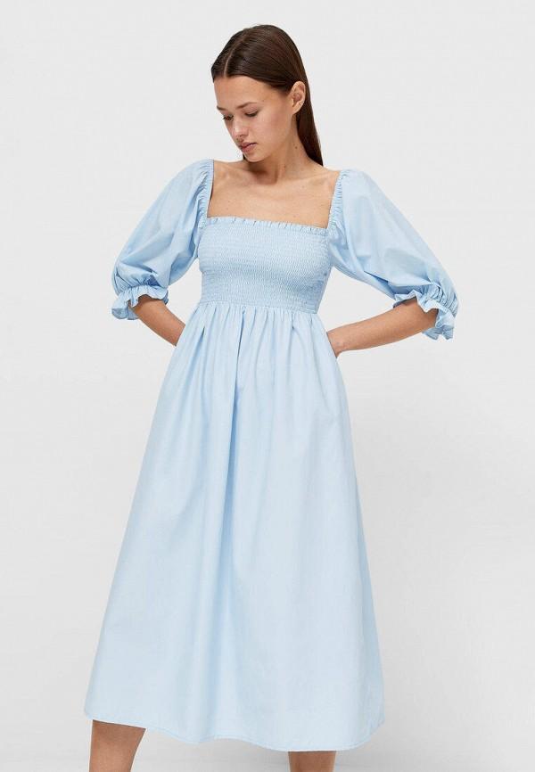 женское повседневные платье stradivarius, голубое