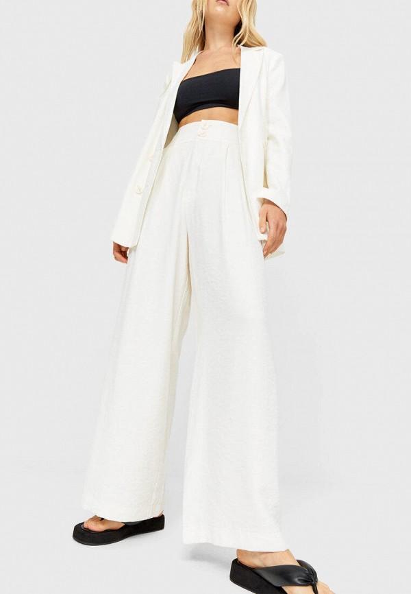 женские повседневные брюки stradivarius, белые