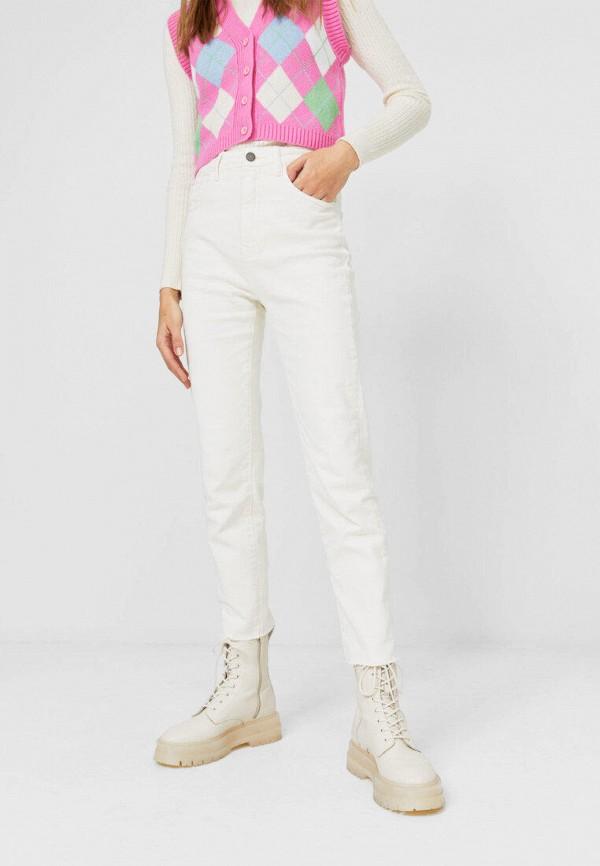женские прямые джинсы stradivarius, белые