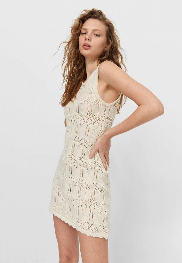 женское повседневные платье stradivarius, бежевое