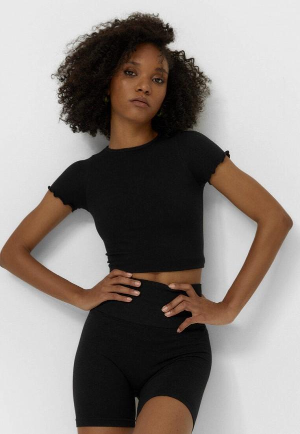 женские повседневные шорты stradivarius, черные