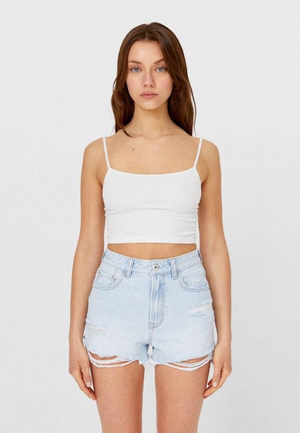 женские джинсовые шорты stradivarius, голубые
